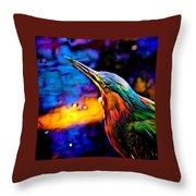 Green Heron In Dramatic Hues Throw Pillow