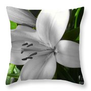 Green Highlighted Lily Throw Pillow