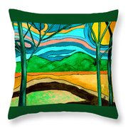 Green Hill Country Throw Pillow