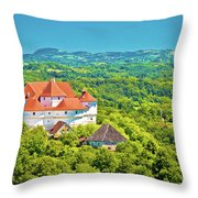 Green Hills Of Zagorje Region And Veliki Tabor Castle View Throw Pillow