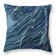 Green Horse With Flying Mane Throw Pillow