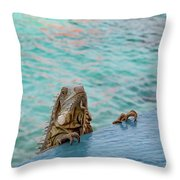 Green Iguana Peering Over Wall Throw Pillow