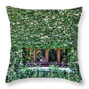 Green Ivy Window  Throw Pillow