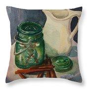 Green Jar Throw Pillow