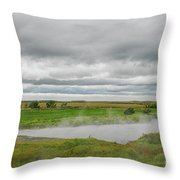 Green Landscape With Steamy River Throw Pillow