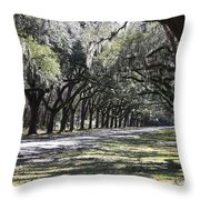 Green Lane With Live Oaks Throw Pillow