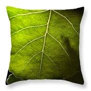 Green Leaf Detail Throw Pillow