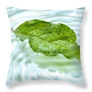 Green Leaf With Water Reflection Throw Pillow