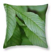 Green Leafs Throw Pillow