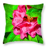 Green Leafs Of Pink Throw Pillow