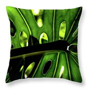 Green Leave With Holes Throw Pillow