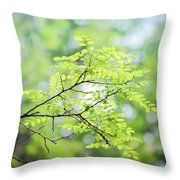 Green Leaves In The Forest Throw Pillow