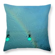 Green Light To A Rainbow Throw Pillow