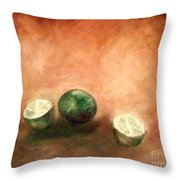 Green Limes Throw Pillow
