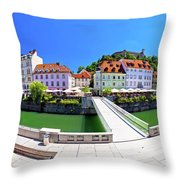Green Ljubljana Riverfront Panoramic View Throw Pillow