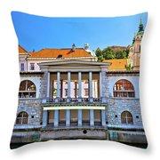 Green Ljubljanica Riverfront In Ljubljana Throw Pillow