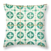 Green Lucky Charm Lisbon Tiles Throw Pillow