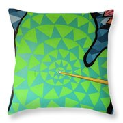 Green Map Of Michigan With And Arrow Pointing To Lansing Michiga Throw Pillow