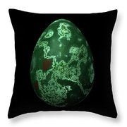 Green Marble Egg With Red Details Throw Pillow