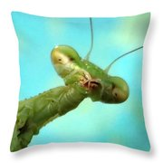 Green Martian Throw Pillow