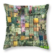 Green Metropolis  Throw Pillow