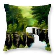 Green Mist Fantasy Falls Dreamy Mirage Throw Pillow