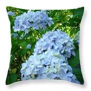 Green Nature Landscape Art Prints Blue Hydrangeas Flowers Throw Pillow