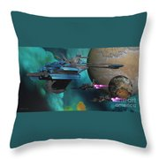 Green Nebular Expanse Throw Pillow by Corey Ford