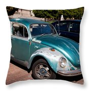 Green Old Vintage Volkswagen Car Throw Pillow
