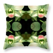 Green Orchid Meeting Throw Pillow