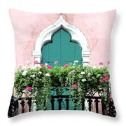 Green Ornate Door With Geraniums Throw Pillow
