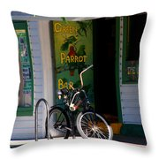 Green Parrot Bar Key West Throw Pillow by Susanne Van Hulst