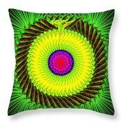 Green Parrot Mandala Throw Pillow