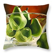 Green Pears In Glass Bowl Throw Pillow