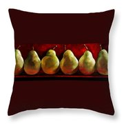 Green Pears On Red Throw Pillow by Toni Grote