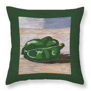 Green Pepper Throw Pillow