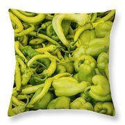 Green Peppers Throw Pillow