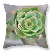 Green Petals Throw Pillow