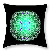Green Piece Mandala Throw Pillow