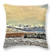 Green Plow On An Early Winter Morning Throw Pillow