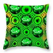 Green Polka Dot Roses Fractal Throw Pillow