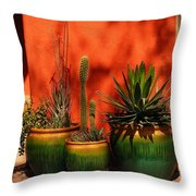 Green Pots Throw Pillow
