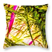Green Rain Drops Throw Pillow
