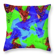 Green Red And Blue Melody Panel Abstract Throw Pillow
