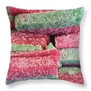 Green Red Sugary Sweet Throw Pillow