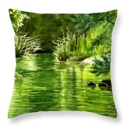 Green Reflections With Sunlit Grass Throw Pillow