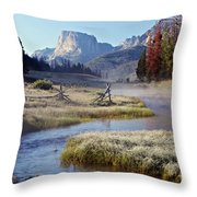 Green River, Frosty Morning Throw Pillow