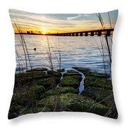 Green Rock Sunset Throw Pillow