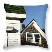 Green Roof Stonington Deer Isle Maine Coast Throw Pillow