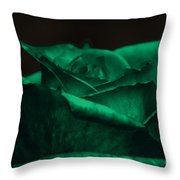 Green Rose Throw Pillow